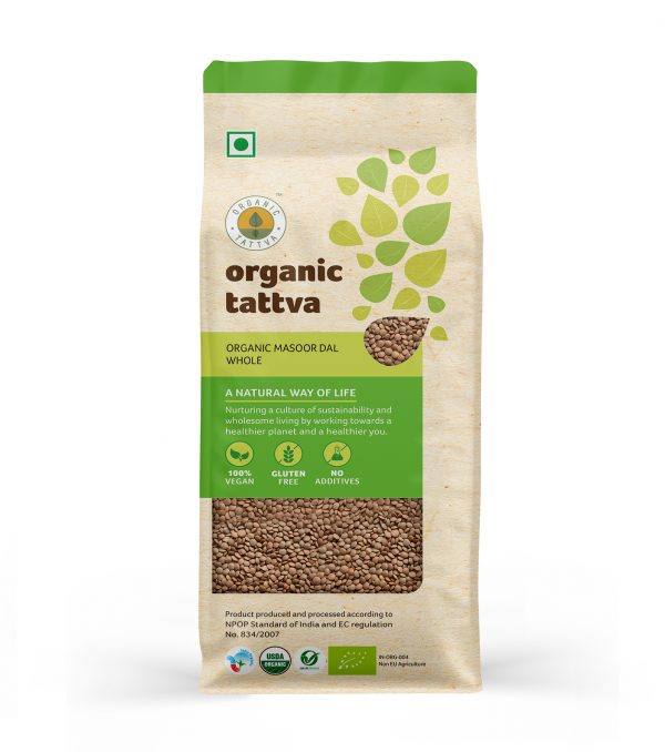 Organic Masoor Dal Whole (500gm)