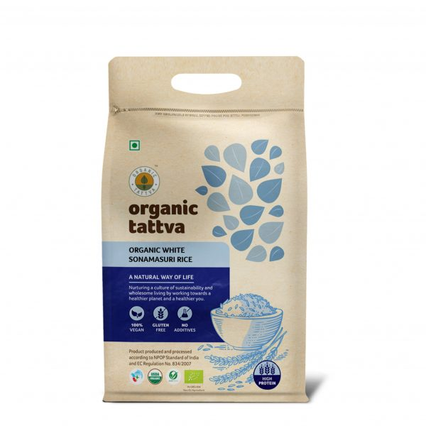 Organic White Sonamasuri Rice Polished (5kg)