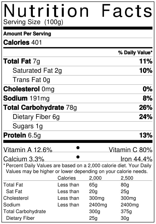 Organic Red Poha Nutrition Facts