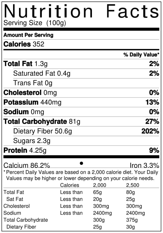 Organic Cinnamon Powder Nutrition Facts