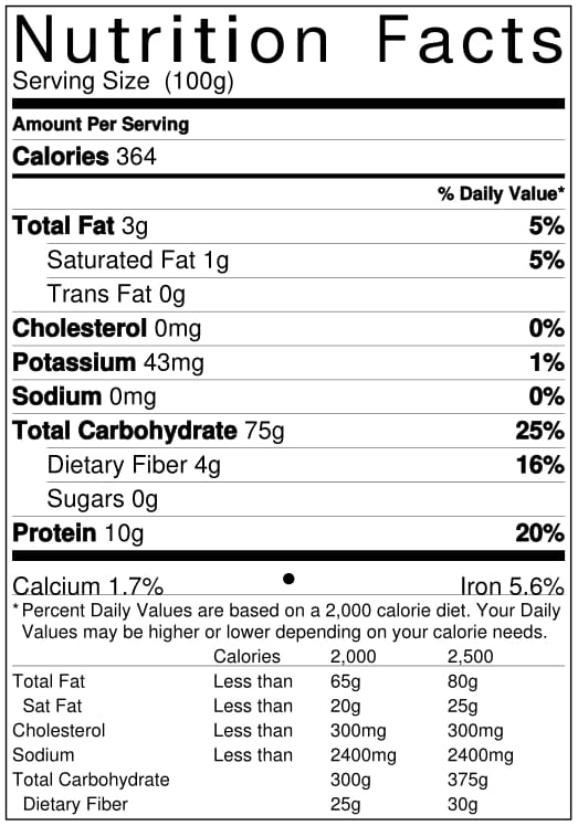 Organic Red Rice Nutrition Facts